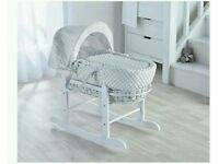 Kinder valley white Dimple with white Wicker moses basket & Free Deluxe Rocking stand. Brand new.