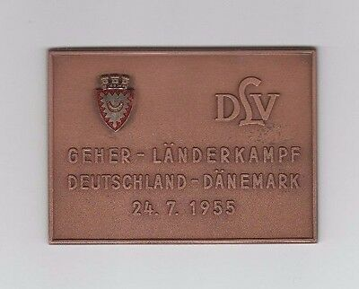 Orig.Teilnehmermedaille  LÄNDERKAMPF in Gehen 1955  DEUTSCHLAND - DÄNEMARK ! TOP