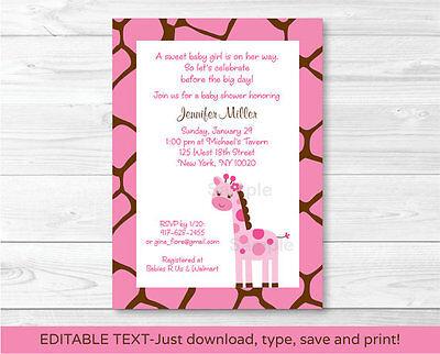 Pink Safari Baby Shower (Pink Giraffe Jungle Safari Printable Baby Shower Invitation Editable)