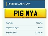 Number plate P16WYA private registration plate
