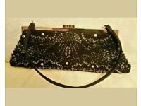 Black satin beaded evening bag by Debut RRP £30