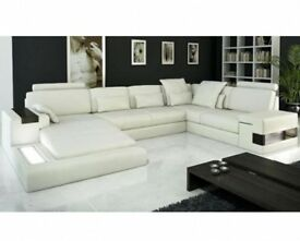 PRICE DROP, MUST SELL ASAP: Ivory white leather Deneli Italia sectional sofa