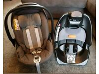 Cybex Cloud Q reclining Car Seat with ISOFIX base in Manhattan grey. From birth