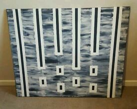 Large painted canvas blue navy white