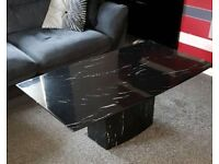 Marble table chairs and matching coffee table
