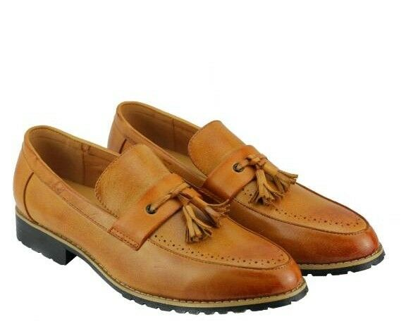 Brand New Mens Tan Tassel Loafers Shoes -