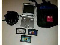Gameboy Advance SP w/ 3 games, case & charger