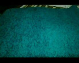 A brand new still packed teal shaggy rug.