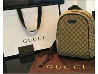 Gucci Backpack GG Supreme Monogram Weekend away travel bag/ Genuine w/Serial number!!