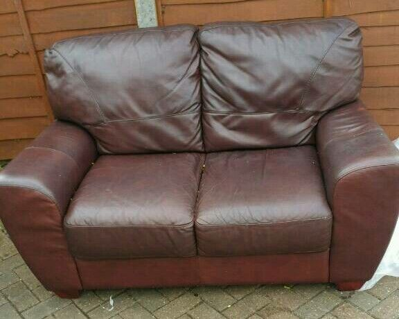 Real leather 2 seater sofa PLUS a leather armchair
