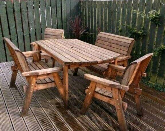 Solid Wood Outdoor Garden Furniture Set   Table  Benches and Chairs. Solid Wood Outdoor Garden Furniture Set   Table  Benches and
