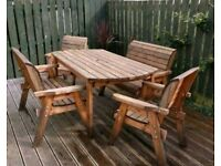 Solid Wood Outdoor Garden Furniture Set - Table, Benches and Chairs