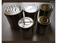 Set of 5 Nested Stainless Steel Canisters With Lids - Brand New in Box