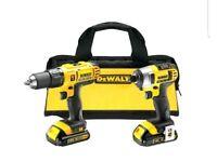 DeWalt 18V Li-Ion Hammer Drill Driver & Impact Driver Twin Pack 2 Batteries