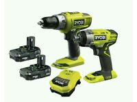 Ryobi cordless Li-Ion combi drill and impact driver twin pack