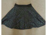 Miss selfridge leopard print skater skirt