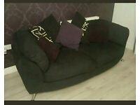 Large Black Fabric Sofa