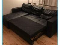 Black Leather Corner Sofa Bed. Was £650 now only £300. *Free Delivery*