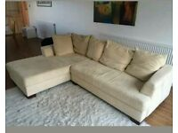 John Lewis Suede Cream Corner Sofa bed. Was £1600 now only £350. *Free Delivery*