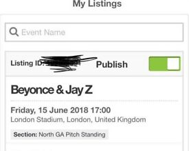 Beyoncé JayZ Amazing Price - Standing North GA Pitch - right in front of stage