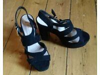 Black suede platform heels size 6