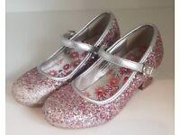 Girls 'Lilley Sparkle' Heeled Glitter Shoe Size 10