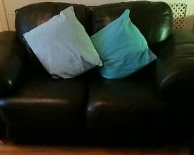 2 and 3 leather sofa brown
