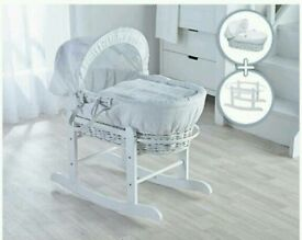 White Waffle on white Wicker moses basket & Little gem Rocking stand white brand new sealed packs