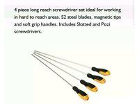 JCB 4 PIECE LONG REACH SCREWDRIVER SET