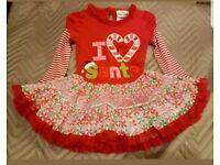I love Santa dress girls Christmas 3 4 years