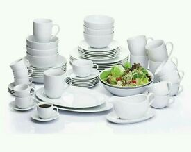 60 Piece White Coupe Vermont Dinner Set