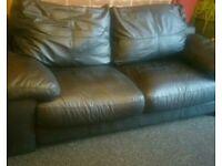 LlBlack 3 seater leather sofa