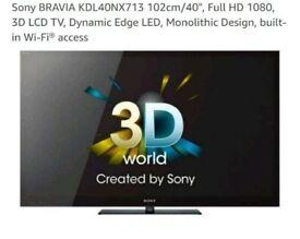 "40"" inch Sony bravia KDL-40NX713 3D LCD"