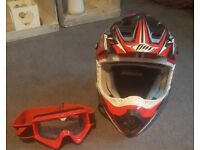 THH motocross helmet size medium with fly goggles