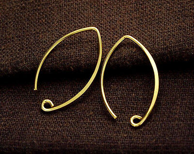 925 Sterling Silver 24k Vermeil Style  2 Pairs of Earwires 16x26 mm. 24k Gold Vermeil Ear Wires