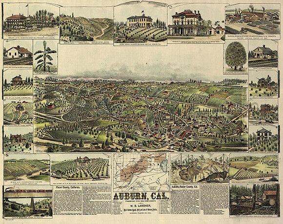 Auburn CA panorama c1887 repro 30x24