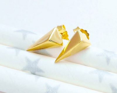 - 925 Sterling Silver 24k Gold Vermeil Style Triangle Stud Earrings .