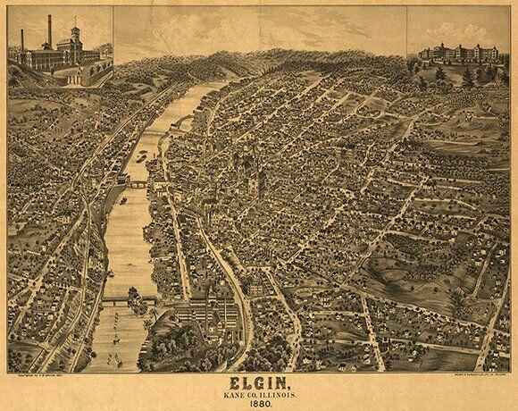 Panoramic view of Elgin Illinois c1880 repro 18x24