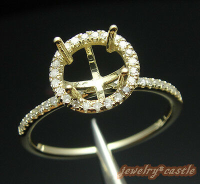 7MM 14K YELLOW GOLD PAVE DIAMOND ENGAGEMENT SEMI-MOUNT ENGAGEMENT WEDDING RING on Rummage