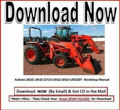 Kubota L3010 L3410 L3710 L4310 L4610 L4010dt Tractor Wsm Service Manual Cd