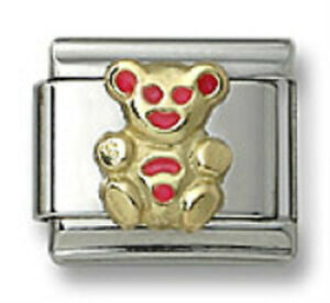Bear-Italian-Charm-Red-Enamel-18k-Gold-Stainless-Steel-Bracelet-Link-Size-9mm
