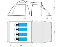 Skandika Oulu 4 Person Man Compact Dome Tent Large Mesh Windows Orange