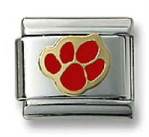 Authentic-18k-Gold-Italian-Charm-Enamel-Red-Paw-Print-9mm-Modular-Link-Bracelet