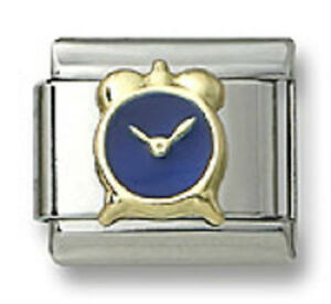New-18k-Gold-Italian-Charm-Blue-Enamel-Alarm-Clock-9mm-Bracelet-Modular-Link