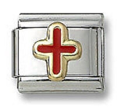 - Italian Charm Religious Cross Red Enamel Stainless Steel Modular Link Bracelet