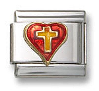 - 18K Red Enamel Heart Italian Charm Religious Cross Stainless Steel Modular Link
