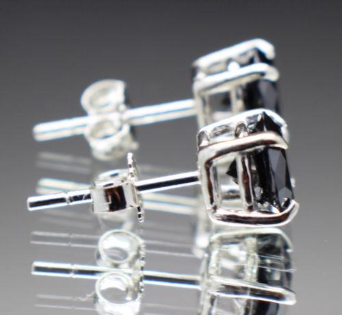 2 Ct Black Diamond Stud Earrings 14K White Gold Over Women and Men Earrings 2