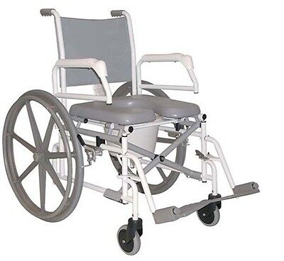 ANTI-RUST FOLDING SWING-ARM PADDED SEAT REHAB SHOWER COMMODE WHEELCHAIR