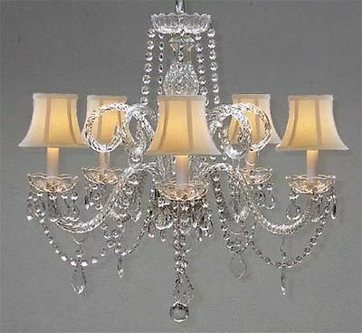 Swarovski Crystal Trimmed Chandelier Crystal Lighting W/White Shades H25