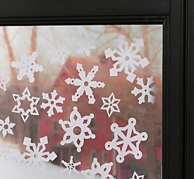 VINYL SNOWFLAKE WINDOW CLINGS ASSORTED HOLIDAY WINTER CHRISTMAS DECORATIONS SNOW